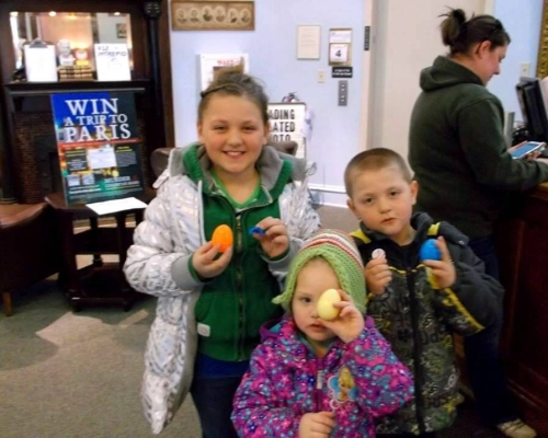 First young patrons to buy an Easter Egg Surprise Kenadie, Tenleigh & Landon.