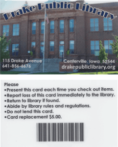Drake Public Library card