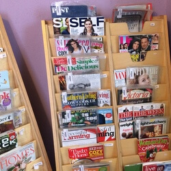 Shelf with magazines on display